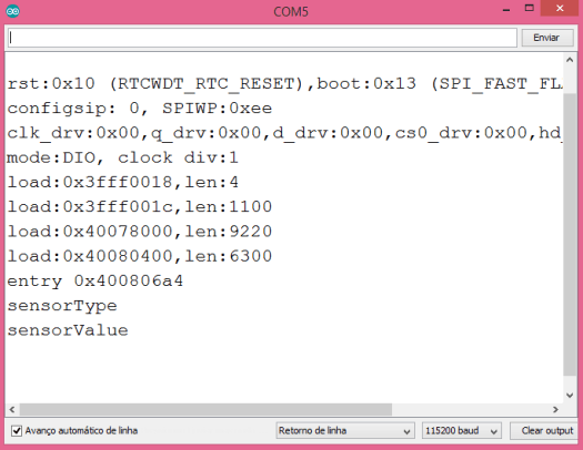 Output of the program, showing the JSON keys printed to the Arduino IDE serial monitor.