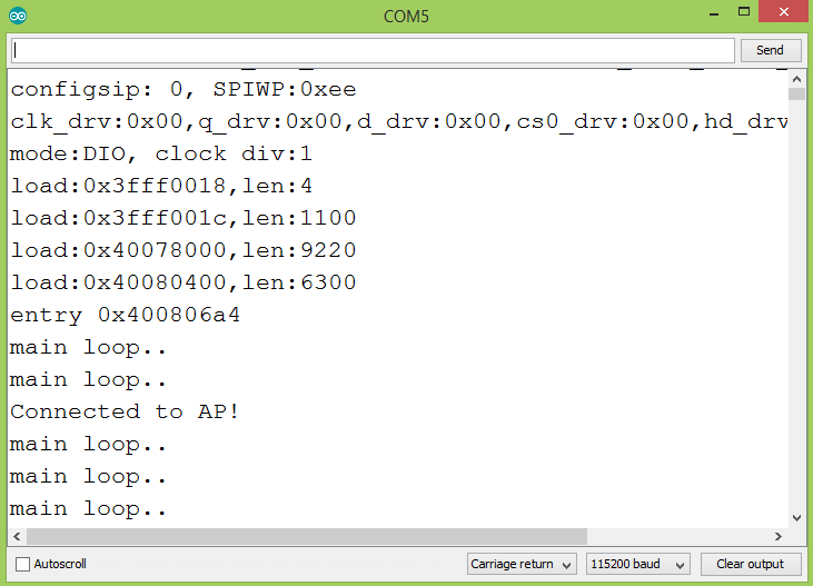 Output of the program on the Arduino IDE serial monitor, showing the message printed by the event handling function.