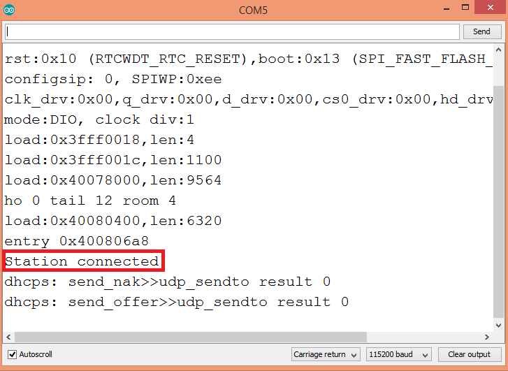 Output of the program, showing the message getting printing when a station connects to the ESP32 network.