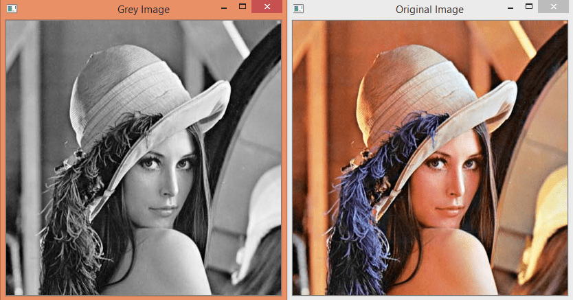Output of the Node.JS OpenCV program, showing the image converted to grey scale.