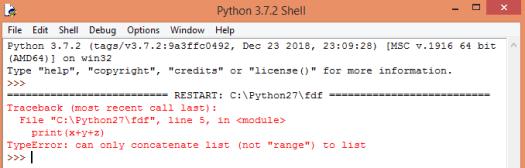 Error obtaining when concatenating different iterables.