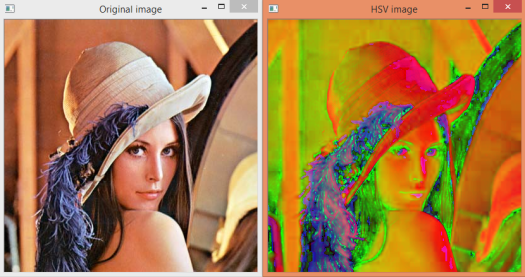 Output of the program, showing the original image the and image in the HSV color space.
