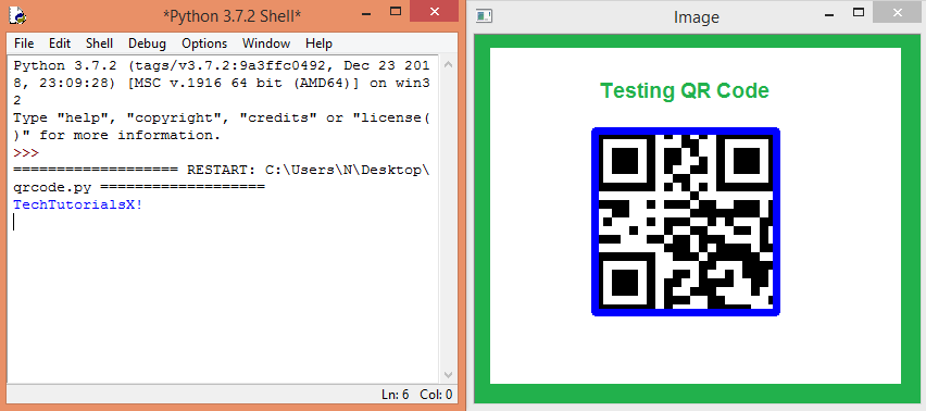 Output of the program, with the decoded QR Code text.