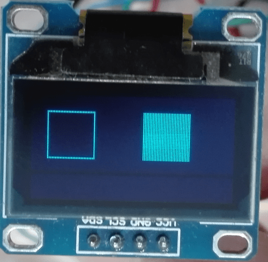 OLED display showing the squares.