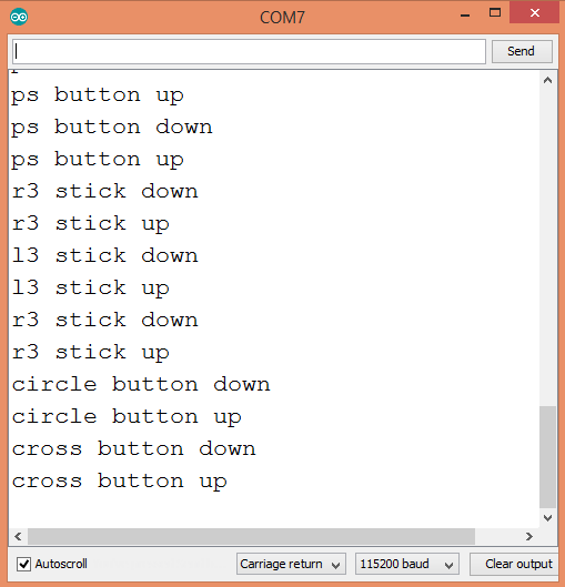 Output of the program that handles key pressed events for the buttons of the PS4 controller.