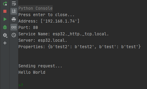 Output of the Python program, displaying the service information.