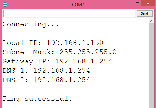 Output of the program, after setting the ESP32 to use a static IP address.