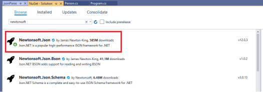 Installing Json.NET from the Visual Studio package manager.