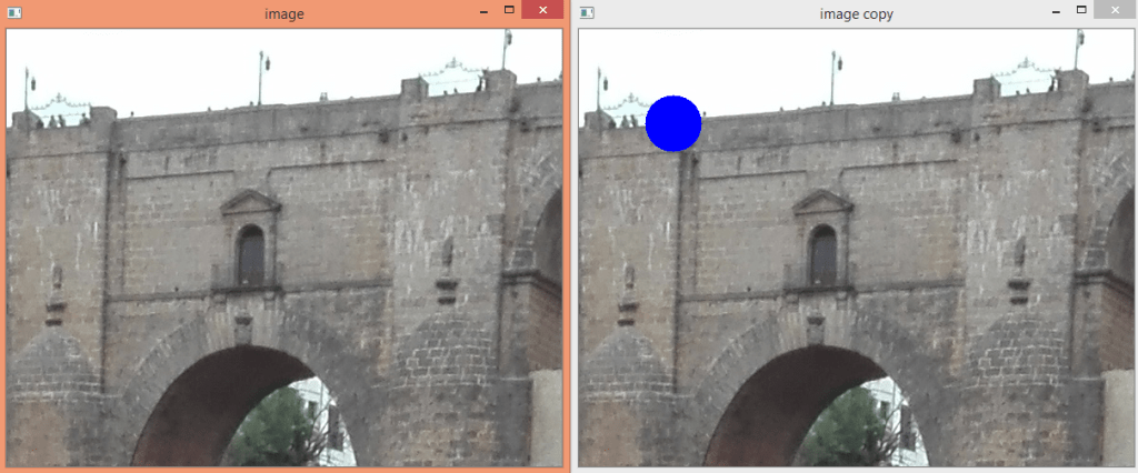 Displaying the original and the copied image with OpenCV.