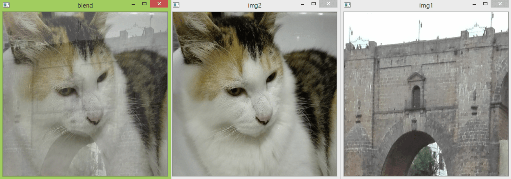 Output of the OpenCV program to blend images, showing the result and the original images.