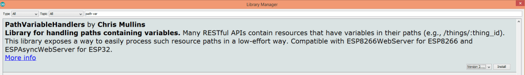 Installing the library from the Arduino IDE libraries manager.
