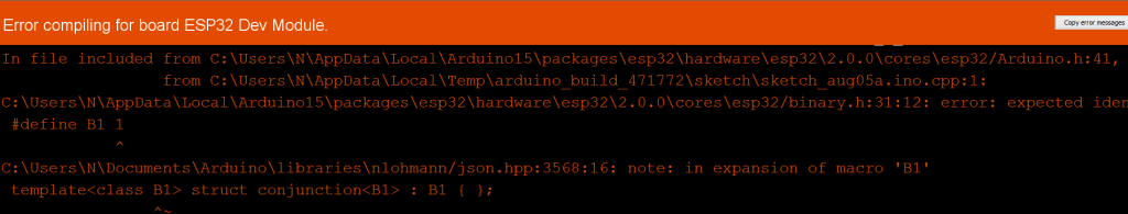 Compiler error due to clash between Nlohmann/json library and the binary.h file.