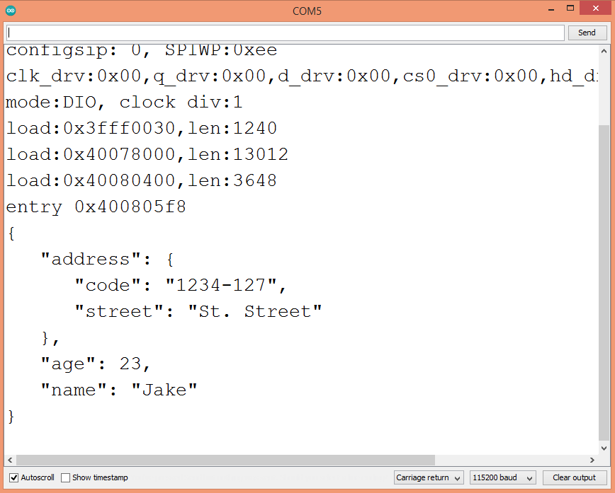 Result of the CBOR deserialization, performed with the ESP32.
