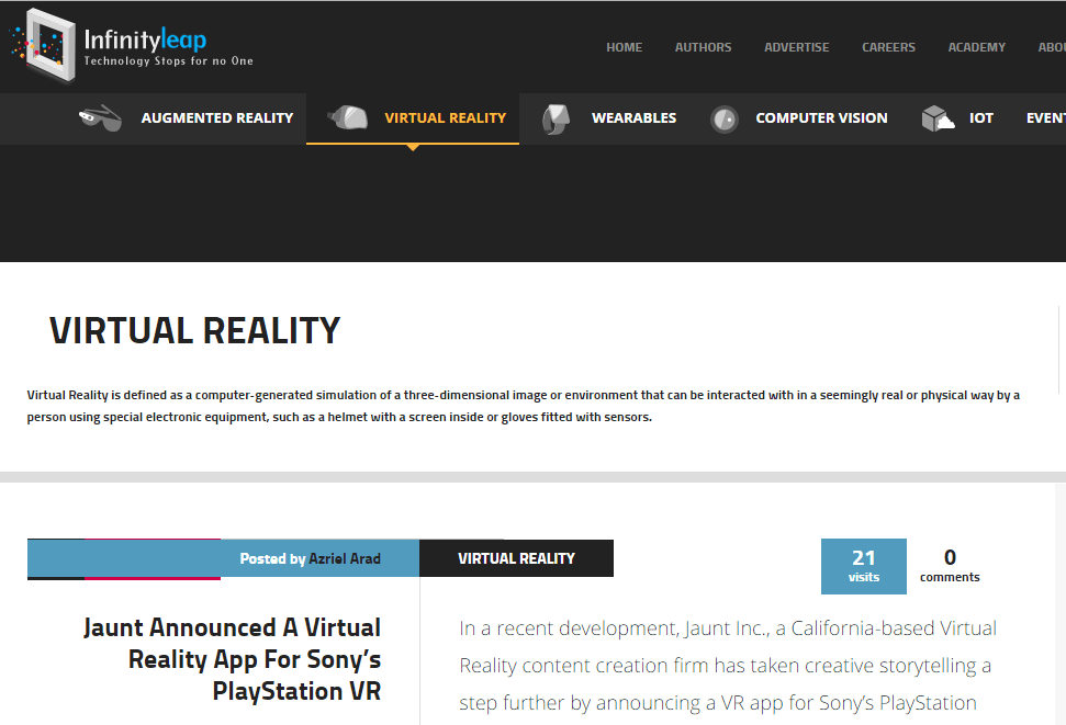 Infinity Leap - Best Virtual Reality Websites