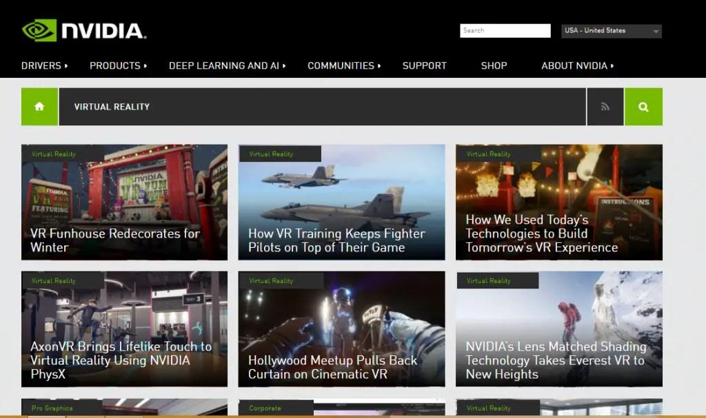 Nvidia - Best Virtual Reality Websites