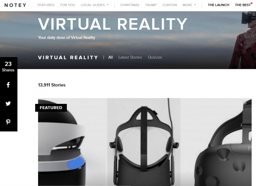 Notey - Best Virtual Reality Websites