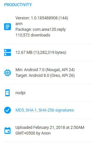 Product Details Google's Reply App - tech urdu
