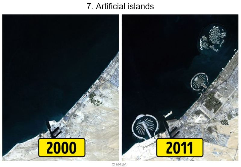 15 Photos of Earth Before and AFter - Artificial Islands - Tech Urdu - Our Planet has Changed