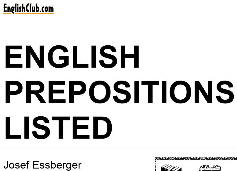 English Prepositions Listed