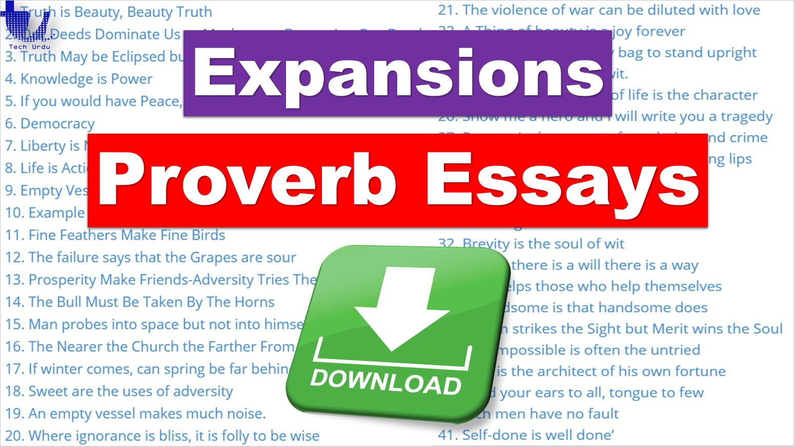 Proverb Expansions & Proverb Essays for Competitive Examinations (PDF Download) - Tech Urdu