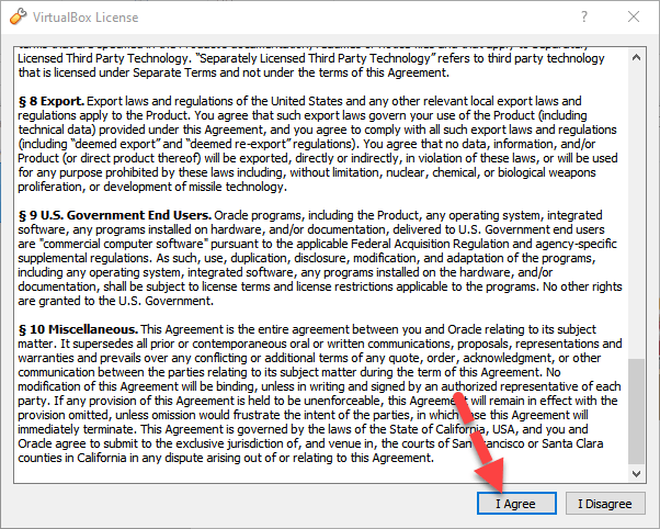 Virtualbox Extension pack Agreement