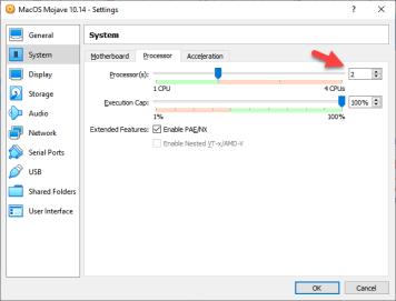 Increase MacOS Mojave processor