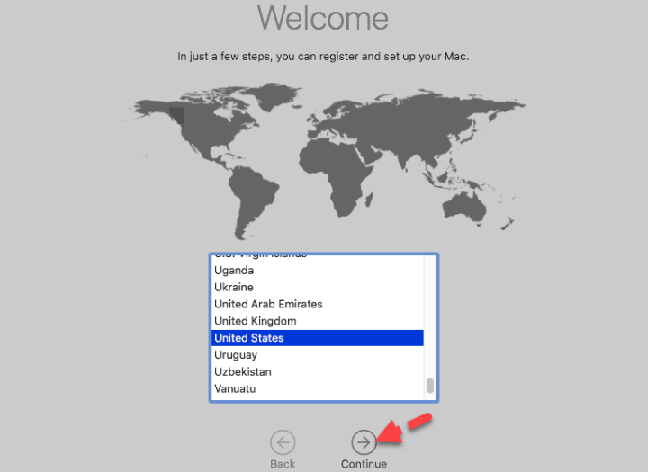Select Your Country for MacOS Mojave