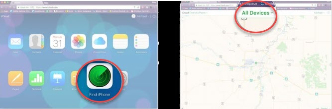 how to find my iphone from mac