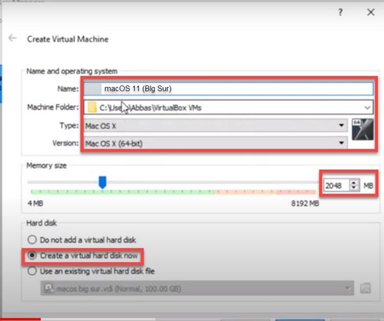 install macos 11 Big sur on virtualbox