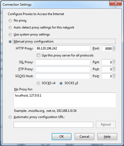 Firefox proxy server settings