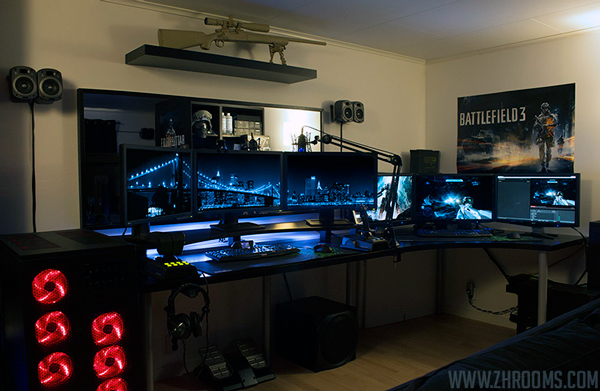 30 coolest and inspiring multi monitor gaming setups. Black Bedroom Furniture Sets. Home Design Ideas