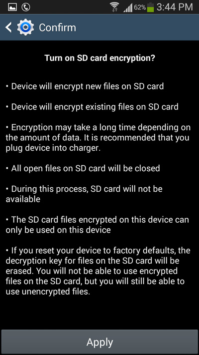 How To Encrypt Your Android Phone's External SD Card