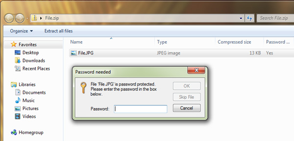 password protect a zip file