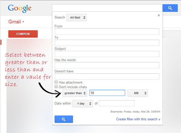 Search gmail for pictures