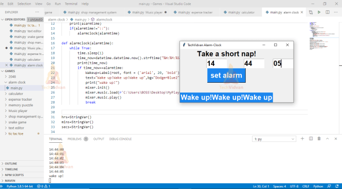 An Alarm Clock In Python With Gui