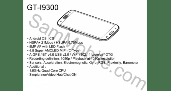 Supuestas Especificaciones del Samsung Galaxy S3