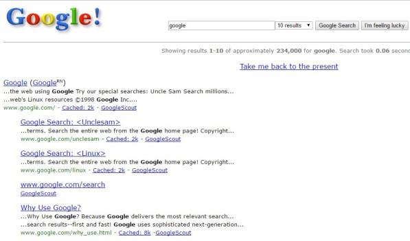 "Search ""Google in 1998"""