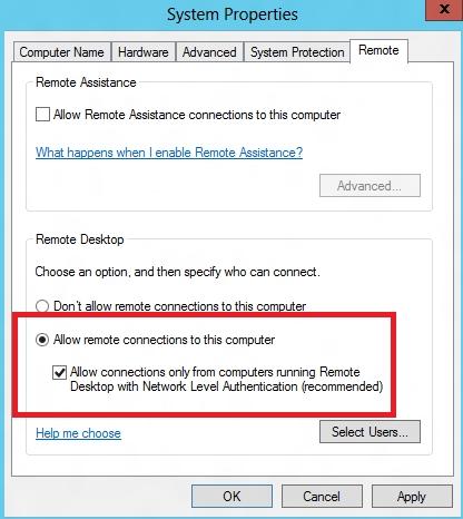 Aktifkan Izinkan koneksi jarak jauh ke komputer ini