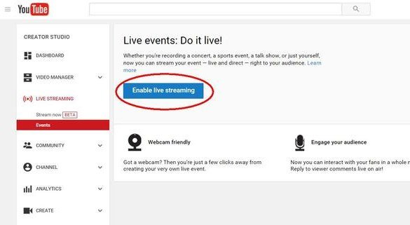 Click on 'Enable Live Streaming' and fill in the details