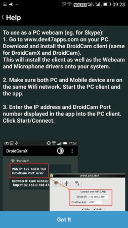 Utiliser DroidCam