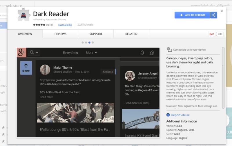 Using Dark Reader