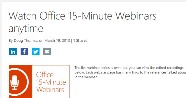 Microsoft 15 Minutes Webinars