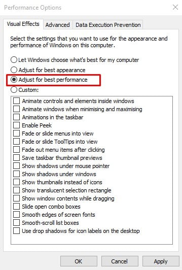 Adjust Windows 10 for Best Performance