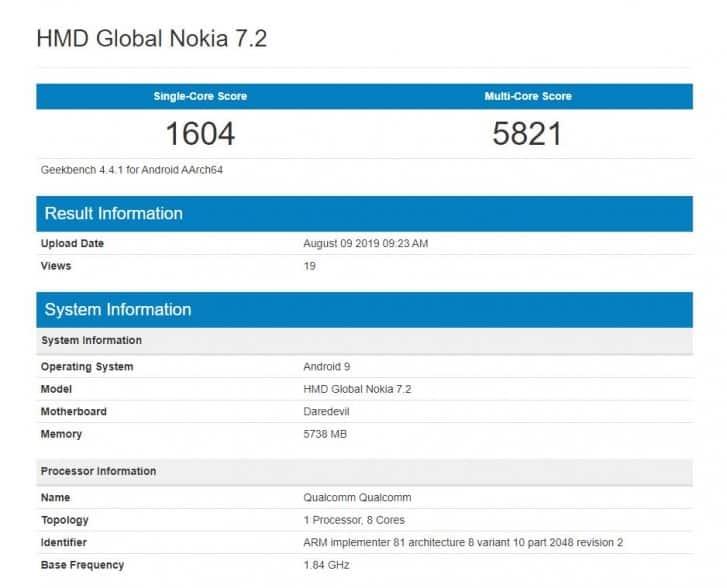 Nokia 7.2 - Nokia 7.2 pour disposer de 6 Go de RAM, Snapdragon 710, appareil photo 48 mégapixels