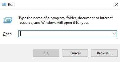 Tekan Windows Key + R untuk membuka kotak dialog Run