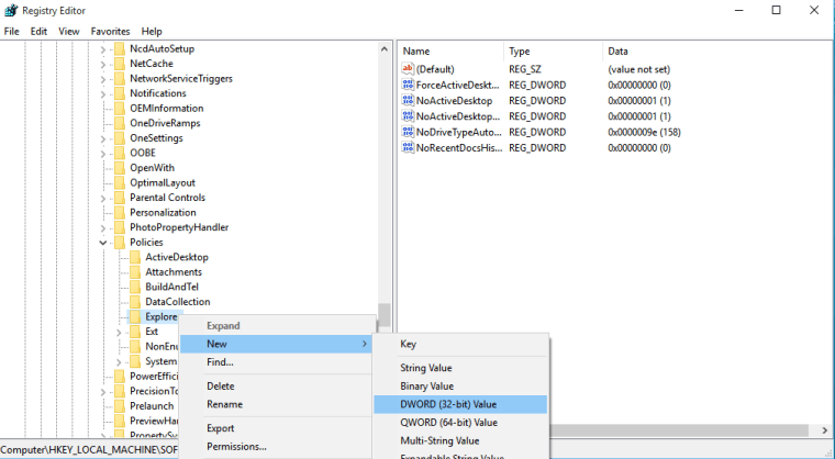 Select 'New > DWORD (32-bit) Value'