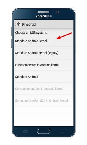 Select the 'Standard Android Kernel' option