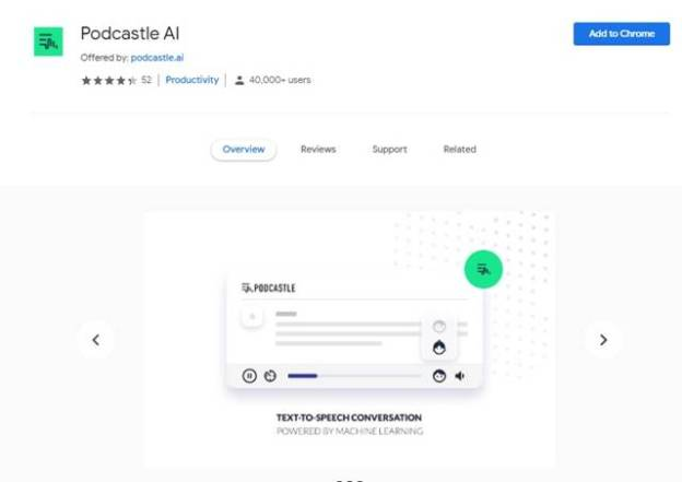 Podcastle extension page