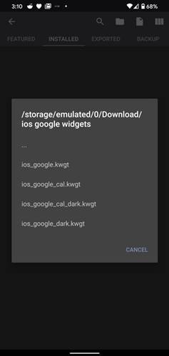 Import the widget from the extracted folder