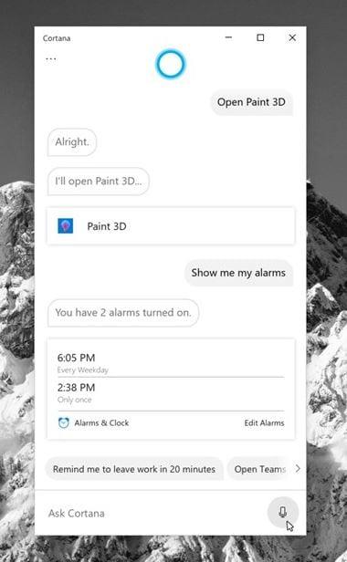 Tangkapan Layar Cortana